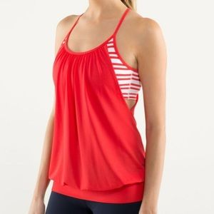 LULULEMON No Limits Tank Love Red/Twin Stripe sz 4